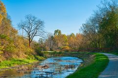 Ohio Canal towpath walk Stock Image