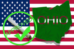 OHIO on cannabis background. Drug policy. Legalization of marijuana on USA flag, Stock Photos