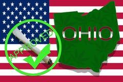 OHIO on cannabis background. Drug policy. Legalization of marijuana on USA flag, Stock Photos