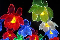 Ohio Chinese Lantern Festival. Brightly colored Chinese lanterns lighten up the night at the Ohio Chinese Lantern Festival stock image