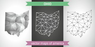 Ohio collection of vector design modern maps, gray and black and silver dot outline mosaic 3d map. Set of Ohio polygonal mosaic modern maps Royalty Free Stock Photos