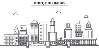 Ohio, Columbus architecture line skyline illustration. Linear vector cityscape with famous landmarks, city sights. Design icons. Editable strokes vector illustration