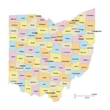 Ohio Counties Map Royalty Free Stock Image