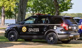 Ohio Department Of Natural Resources Vehicle. An Ohio Department of Natural Resources Officer vehicle parked at the scene of a tragedy in an Ohio State Park stock image