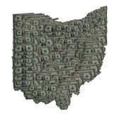 Ohio Dollar Outline. Conceptual Image of the state of Ohio portrayed with Dollar Bills royalty free stock photo