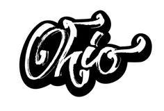ohio etikett Modern kalligrafihandbokstäver för serigrafitryck Arkivfoton