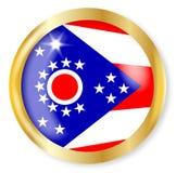 Ohio  Flag Button. Ohio  state flag button with a gold metal circular border over a white background Stock Photos