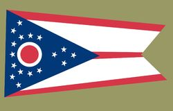 Ohio flag, coutry of United states. Ohio flag isolated on background. The flag of the United States of America royalty free illustration