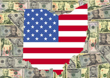 Ohio with flag and dollars stock illustration