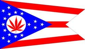 Ohio flag with marijuana leaf Royalty Free Stock Images