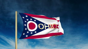 Ohio flag slider style with title. Waving in the. Ohio flag slider style with title. Waving with cloud background animation stock video footage