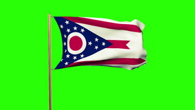 Ohio flag waving in the wind. Green screen, alpha stock footage