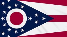 Ohio-Flagge flattert im Wind, Schleife für Hintergrund stock footage