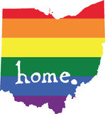 Ohio gay pride vector state sign. LGBT community pride vector U.S. state decal: easy-edit layered vector EPS10 file scalable to any size without quality loss Royalty Free Stock Image