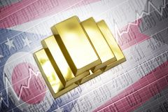 Ohio gold reserves. Shining golden bullions lie on a ohio state flag background Royalty Free Stock Image