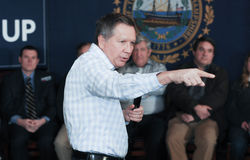 Ohio Governor John Kasich speaks in Newmarket, NH, January 25, 2016. Stock Photos