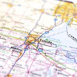 Ohio Highway Map Close Up. Road map of Ohio around Toledo on the border of the state of Michigan stock photo