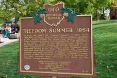 Ohio History: Freedom Summer Memorial Miami University, formerly Western College for Women Stock Images