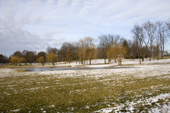 Ohio Landscape. With Green Grass and Blue Sky During Winter royalty free stock photo