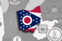Ohio map and flag Royalty Free Stock Photo
