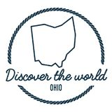 Ohio Map Outline. Vintage Discover the World. Ohio Map Outline. Vintage Discover the World Rubber Stamp with Ohio Map. Hipster Style Nautical Rubber Stamp, with royalty free illustration
