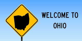 Ohio map on road sign. Wide poster with Ohio us state map on yellow rhomb road sign. Vector illustration royalty free illustration