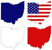 Ohio map with USA flag - Midwestern state in the Great Lakes region of the United States Royalty Free Stock Photography
