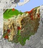 Ohio mapy ulga Zdjęcie Stock