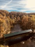The covered bridges of Ashtabula County in autumn are the treasure of Ohio`s Ashtabula County - OHIO stock photo