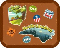 Ohio, North Carolina travel stickers with scenic attractions. And retro text on vintage suitcase background Royalty Free Stock Photos
