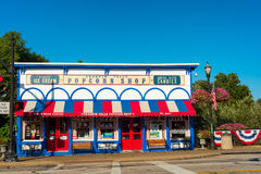 Ohio Popcorn Shop. CHAGRIN FALLS, OH - JULY 30, 2017: The Popcorn Shop in Chagrin Falls, perched just above the falls themselves, is one of the village's stock images