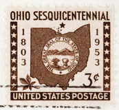 Ohio Postage Stamp 1953. USA - CIRCA 1953: A stamp printed by USA shows the state of Ohio Seal and border for Ohio 's Centennial, circa 1953.This is a Vintage Stock Photos