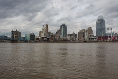 Ohio River above flood stage in Cincinnati and Covington, Kentucky royalty free stock photography