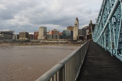 Ohio River above flood stage from John Roebling Suspension Bridge stock photo