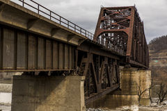 Ohio River Bridge - Weirton, West Virginia and Steubenville, Ohio. The massive Baltimore through truss bridge carries the Norfolk Southern Railway and formerly Royalty Free Stock Images