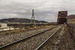 Ohio River Bridge - Weirton, West Virginia and Steubenville, Ohio. The massive Baltimore through truss bridge carries the Norfolk Southern Railway and formerly stock image