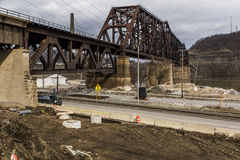 Ohio River Bridge - Weirton, West Virginia and Steubenville, Ohio. The massive Baltimore through truss bridge carries the Norfolk Southern Railway and formerly royalty free stock photo