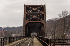 Ohio River Bridge - Weirton, West Virginia and Steubenville, Ohio. The massive Baltimore through truss bridge carries the Norfolk Southern Railway and formerly stock photos
