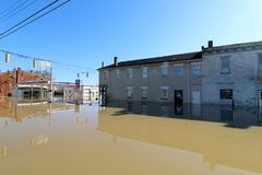 Ohio River flood waters in Aurora, Indiana. February 2018 flooding of Aurora, Indiana from the Ohio River. Buildings in water royalty free stock images