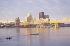 Ohio River and Louisville skyline, KY stock photography
