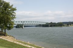 Ohio River with bridge. The Ohio River at Marietta Ohio with a bridge connecting Ohio and West Virginia. Buckley Island is seen in the distance as well royalty free stock photo