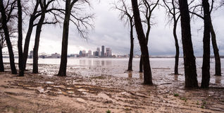 Ohio River Riverbanks Overflowing Louisville Kentucky Flooding Stock Photos