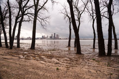 Ohio River Riverbanks Overflowing Louisville Kentucky Flooding Royalty Free Stock Photo