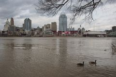 Ohio River above flood stage in downtown Cincinnati royalty free stock image