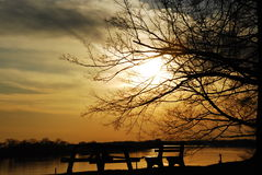 Ohio River Sunset Royalty Free Stock Photos