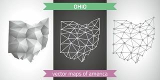 Ohio-Sammlung der modernen Karten-, Grauer und Schwarzer und silbernerdes punktentwurfs-Mosaiks 3d Karte des Vektordesigns Lizenzfreie Stockfotos