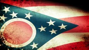 Ohio State Flag Waving, grunge look stock video