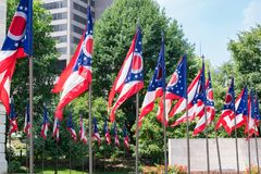 Ohio State Flags. At the state capital in Capitol Square in Columbus, Ohio royalty free stock image