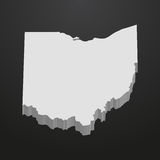 Ohio State map in gray on a black background 3d Royalty Free Stock Photos