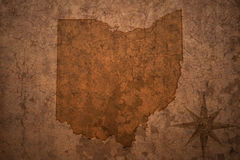 Ohio state map on a old vintage paper background. Ohio state map on a old vintage crack paper background royalty free stock photo
